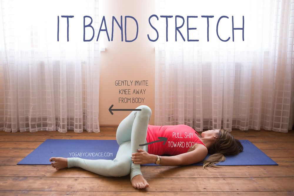 Pin now, practice later - a great stretch for the IT band! Wearing: Sweaty Betty tank, fabletics leggings.