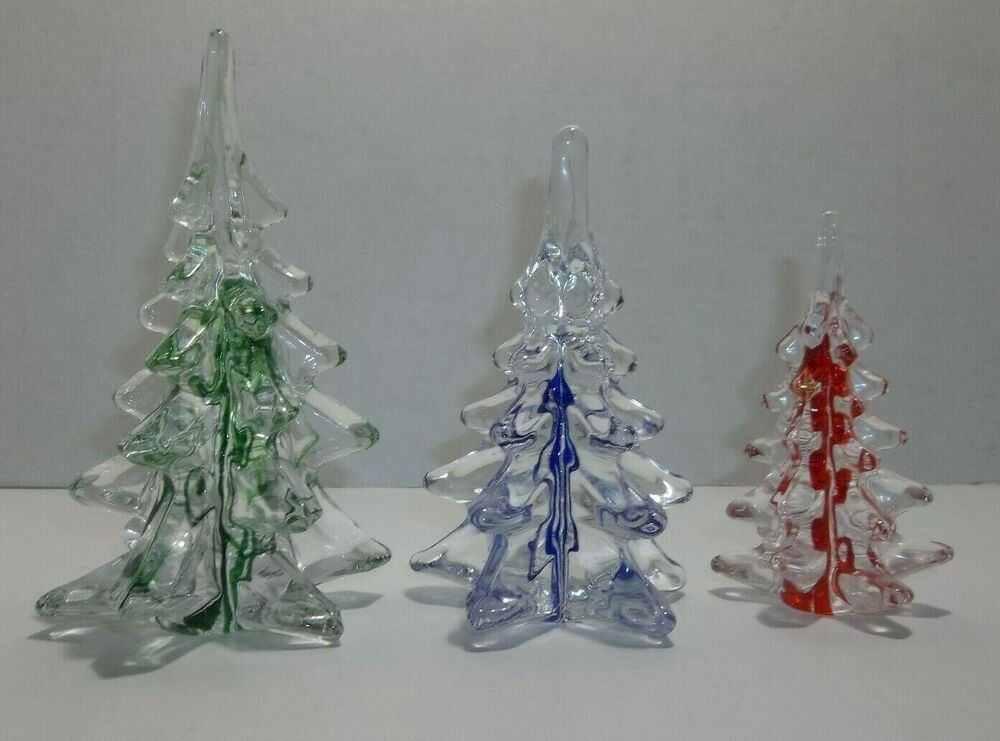 Vintage Art Glass Christmas Trees Green Blue Red Ribbons Rare Set Of 3 Unbranded Green Christmas Tree Glass Christmas Tree Vintage Art Glass