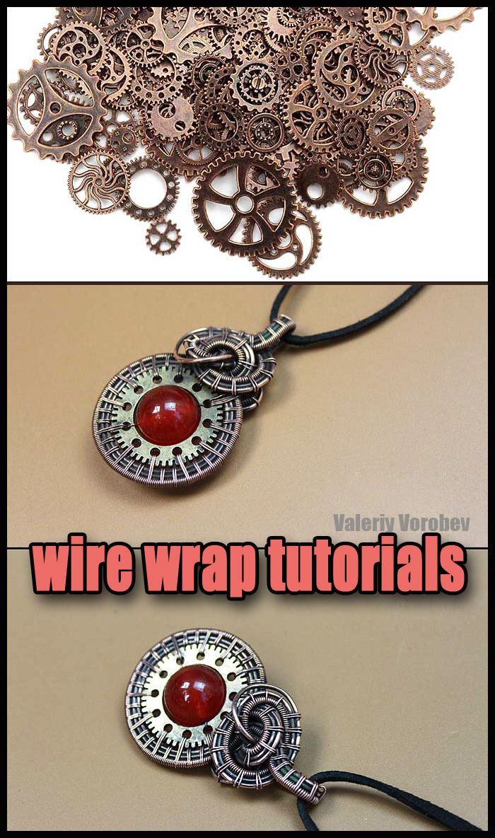 Photo of Pendant made of copper wire, gears and beads.