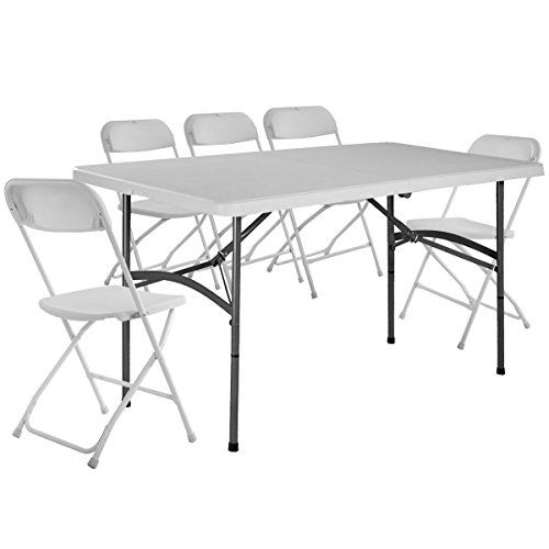 Giantex 5 Plastic Folding Table And Chair Set Picnic Party Dining Camp Indoor Outdoor Best Dining Table Usa Folding Table Table And Chair Sets Table