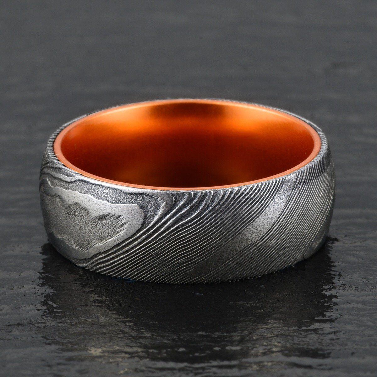 Wood Grained Damascus Ring Orange Anodized Aluminum