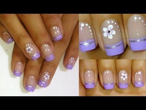 Decoracion de u as facil flores y encaje lace and flowers easy nail art youtube lam nail - Decoracion facil de unas ...