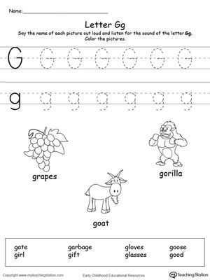 Words Starting With Letter G Letter G Worksheets Preschool Letters Letter Worksheets For Preschool Printable letter g worksheets for