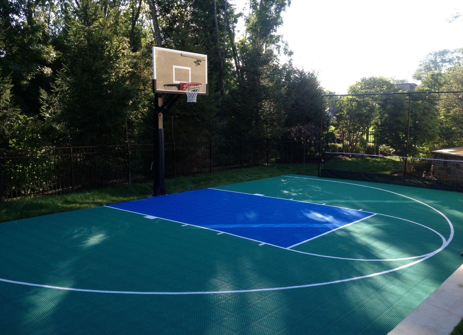 Half Basketball Court With Rebounder Outdoor Basketball Court Basketball Court Backyard Basketball Court
