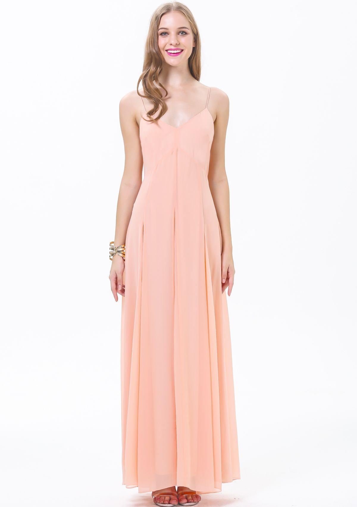 Vestido Maxi sin espalda correa de espagueti-rosado 15.22 | Cosas ...