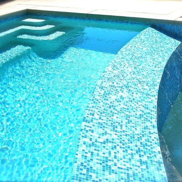 Brio Glass Mosaic Tile Cool Pool Blend Mosaic Pool Mosaic