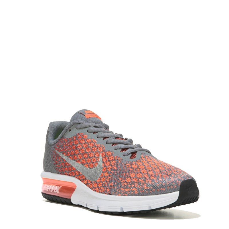 Nike Kids' Air Max Sequent 2 Running Shoe Grade School Shoes (Cool Grey/Max  Orange)