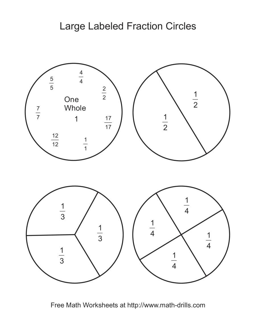 The Blackline Fraction Circles Large Labeled Math Worksheet From The Fractions Worksheets Page At Math Drill Fraction Circles Fractions Worksheets Fractions