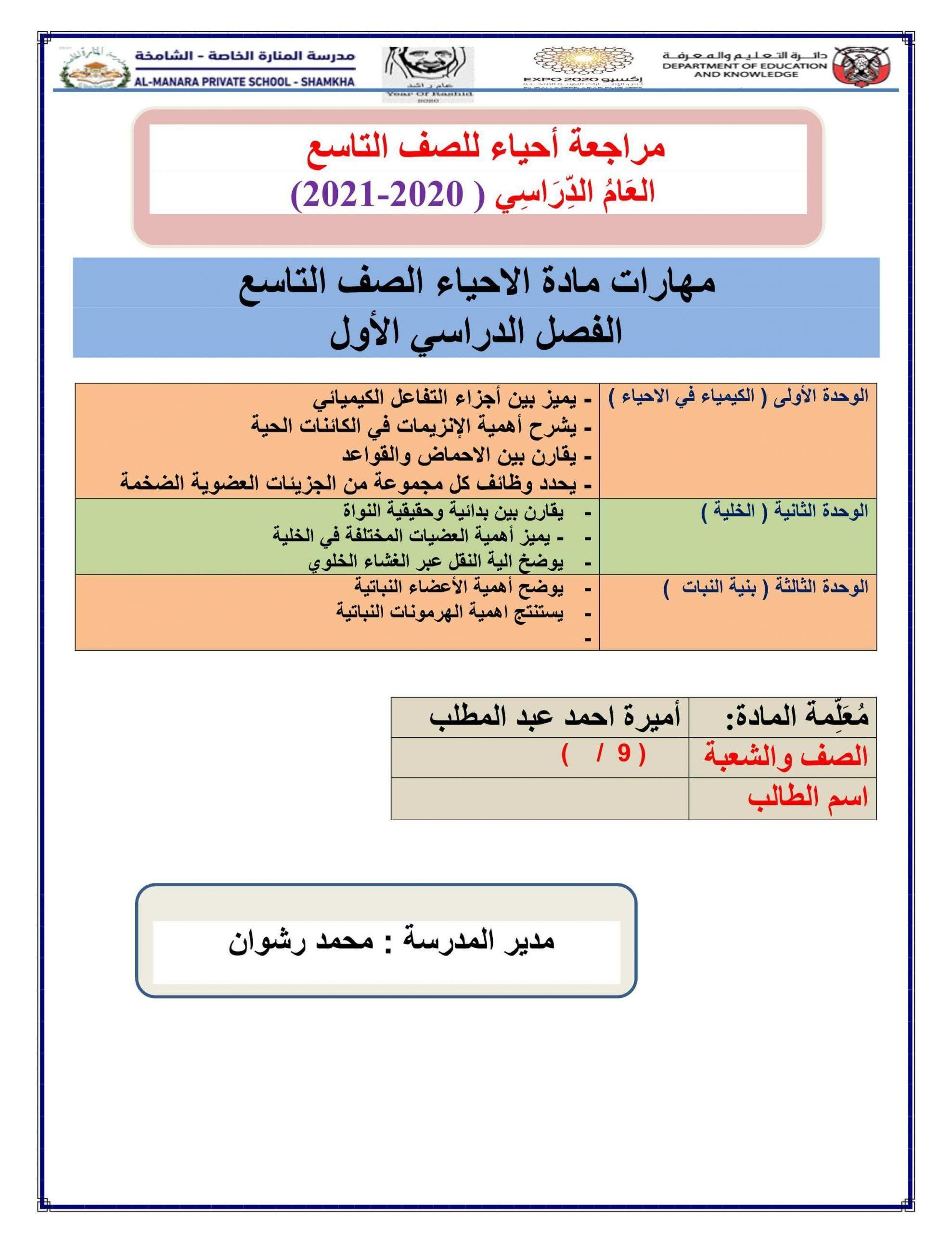 اوراق عمل تدريبات ومراجعة عامة الصف التاسع مادة الاحياء Private School School