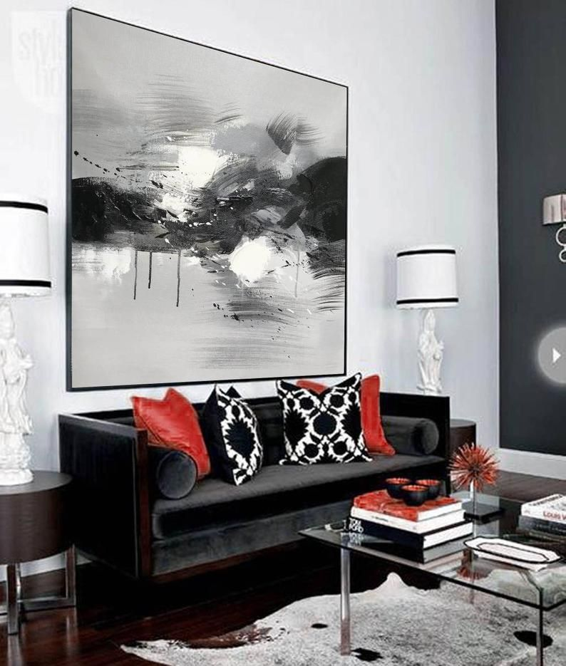 Bianco E Nero Grande Pittura Astratta Su Tela Pittura Ufficio