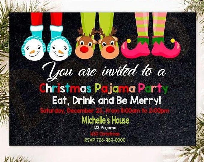 Christmas Pajama Party - Chalkboard Christmas / Holiday ...