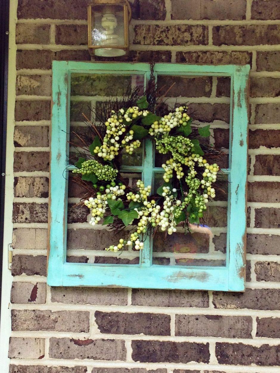 old window frame wall art