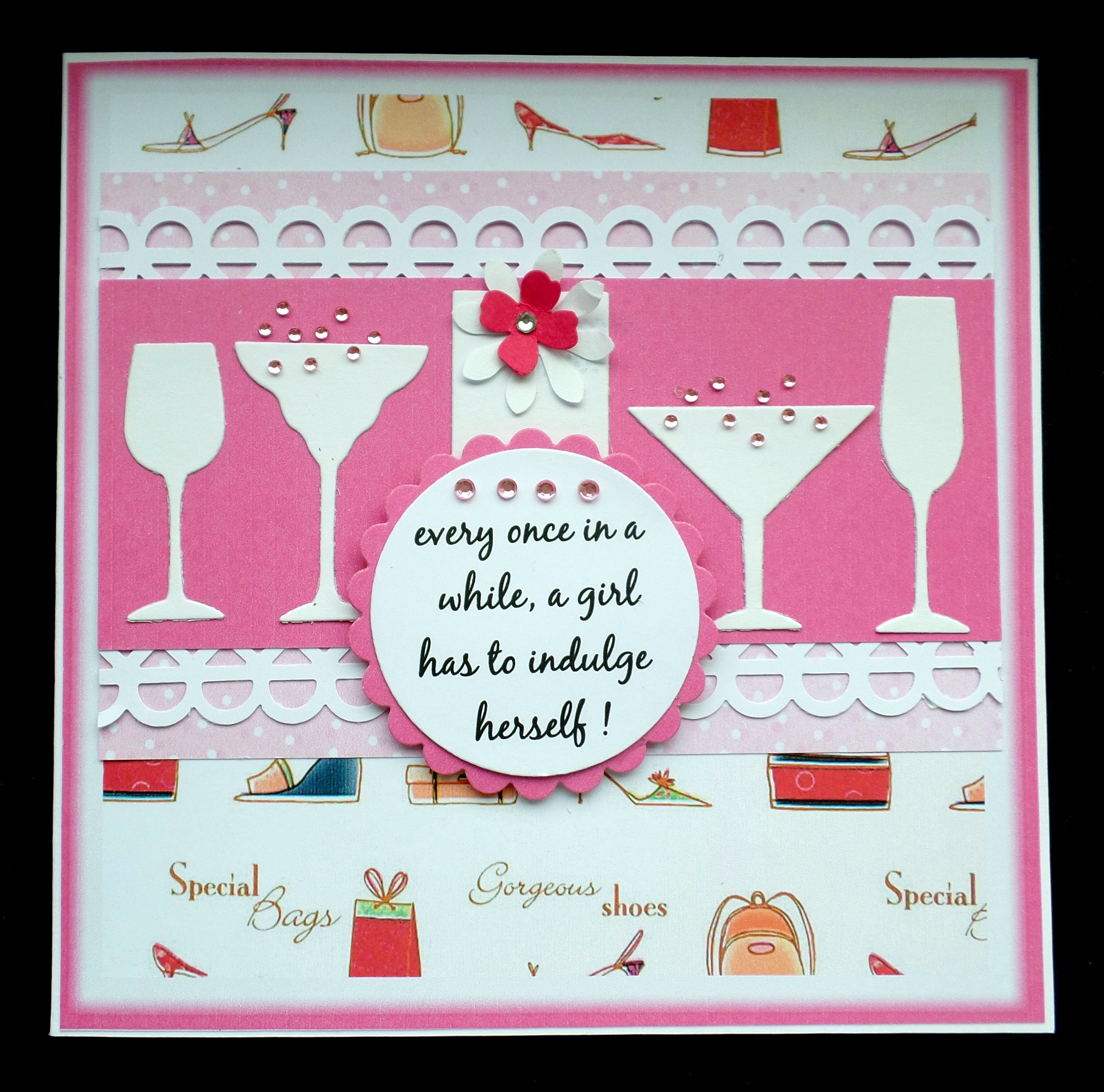 Handmade Birthday card using cocktail and Shop till you drop
