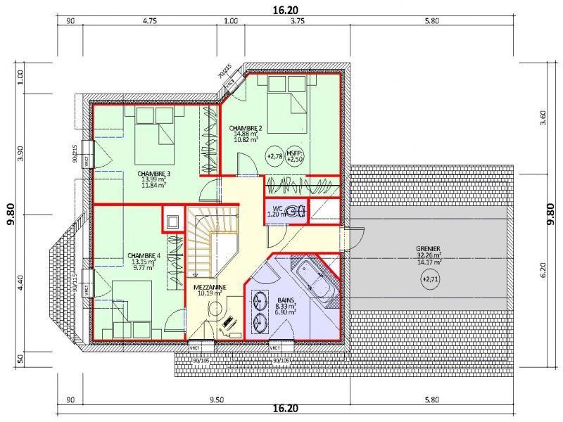 plan de maison contemporaine 4 chambres avec grenier