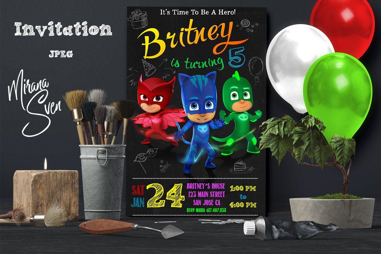 PJ Masks Invitations - PJ Masks Birthday Party Invitation - Digital ...