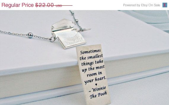 SALE Locket Necklace, Envelope Necklace, Winnie the Pooh Quote Necklace, Friendship Necklace, Bird Necklace, Love Letter Charm. $18.70, via Etsy.