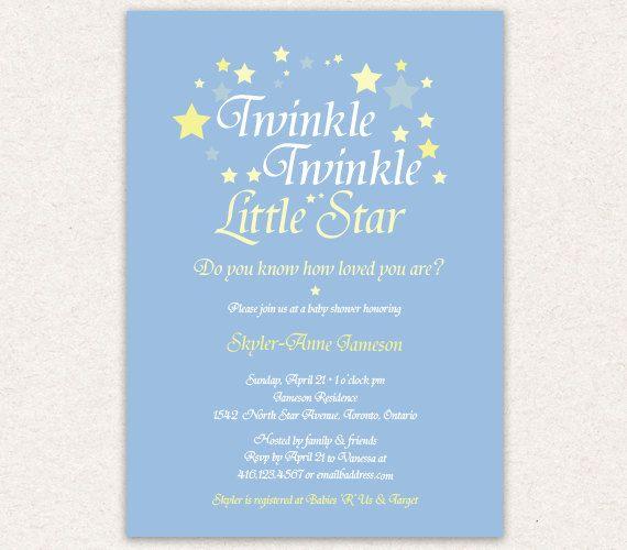 twinkle twinkle little star baby shower invitation, gold glitter,