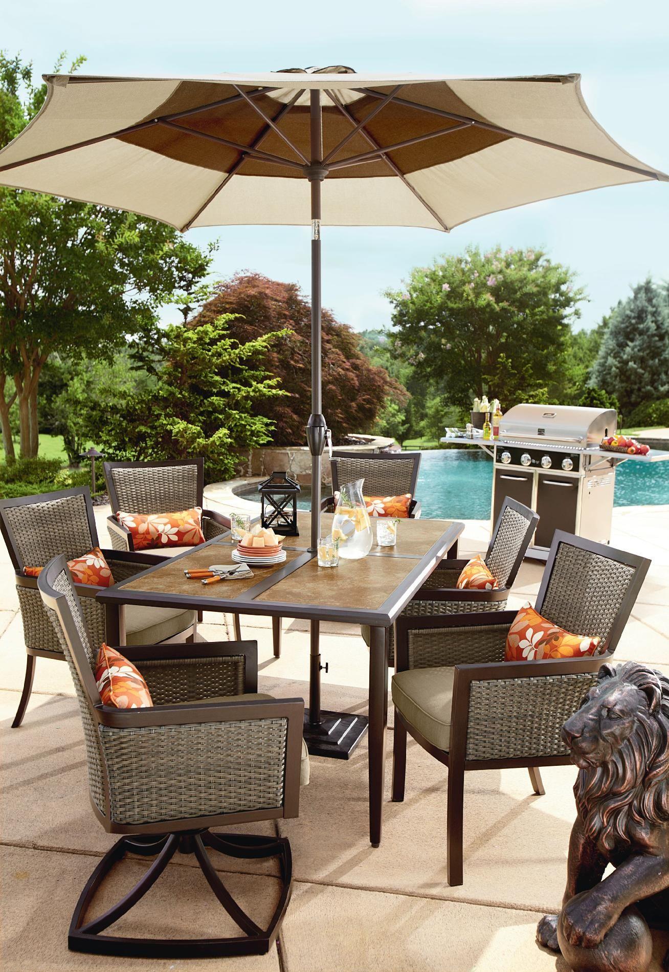 madison 7 piece wicker patio dining set