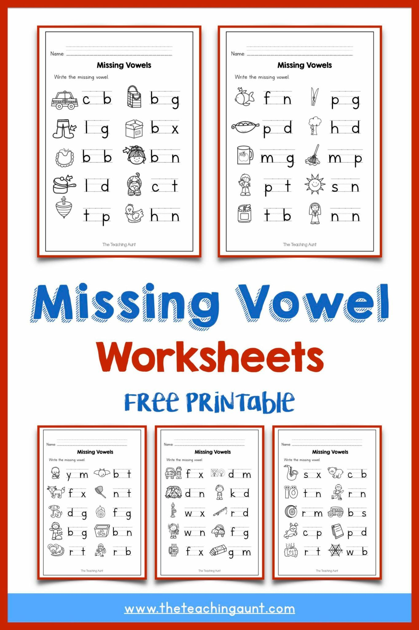 Missing Vowel Worksheets For Kindergarten