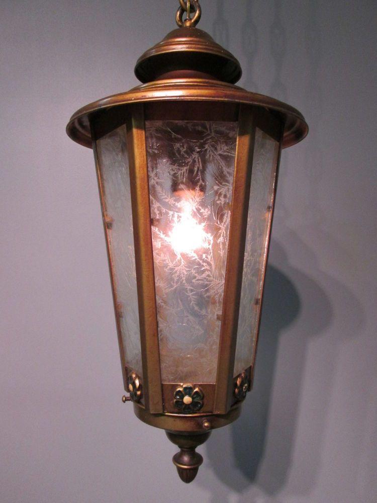 Vintage antique tudor lantern hanging ceiling light for Long ceiling light fixture
