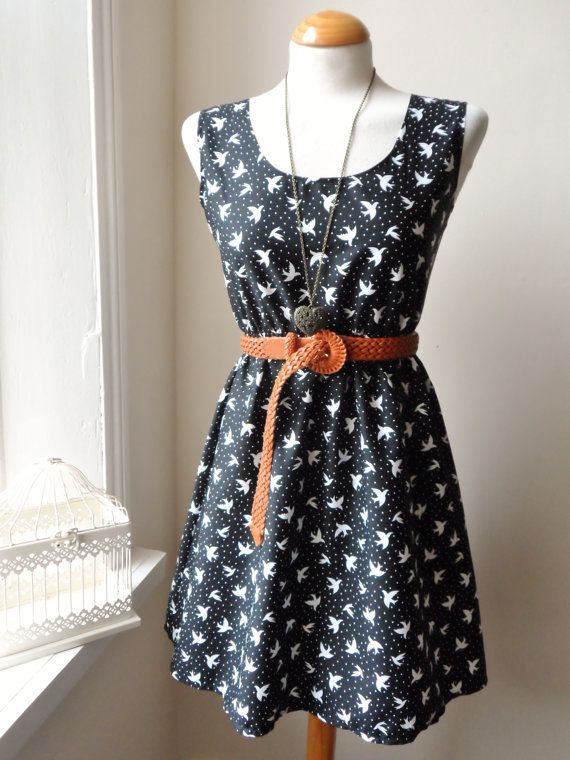 Dress in Black and White with a Cute Bird Print / Handmade / Choose your Size. $30.00, via Etsy.
