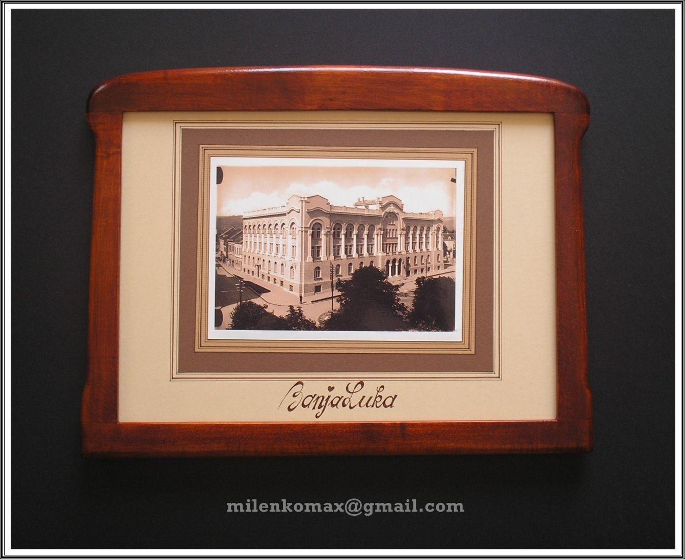 Uramljena stara fotografija-Banja Luka-Suvenir-Old photo frame-old ...