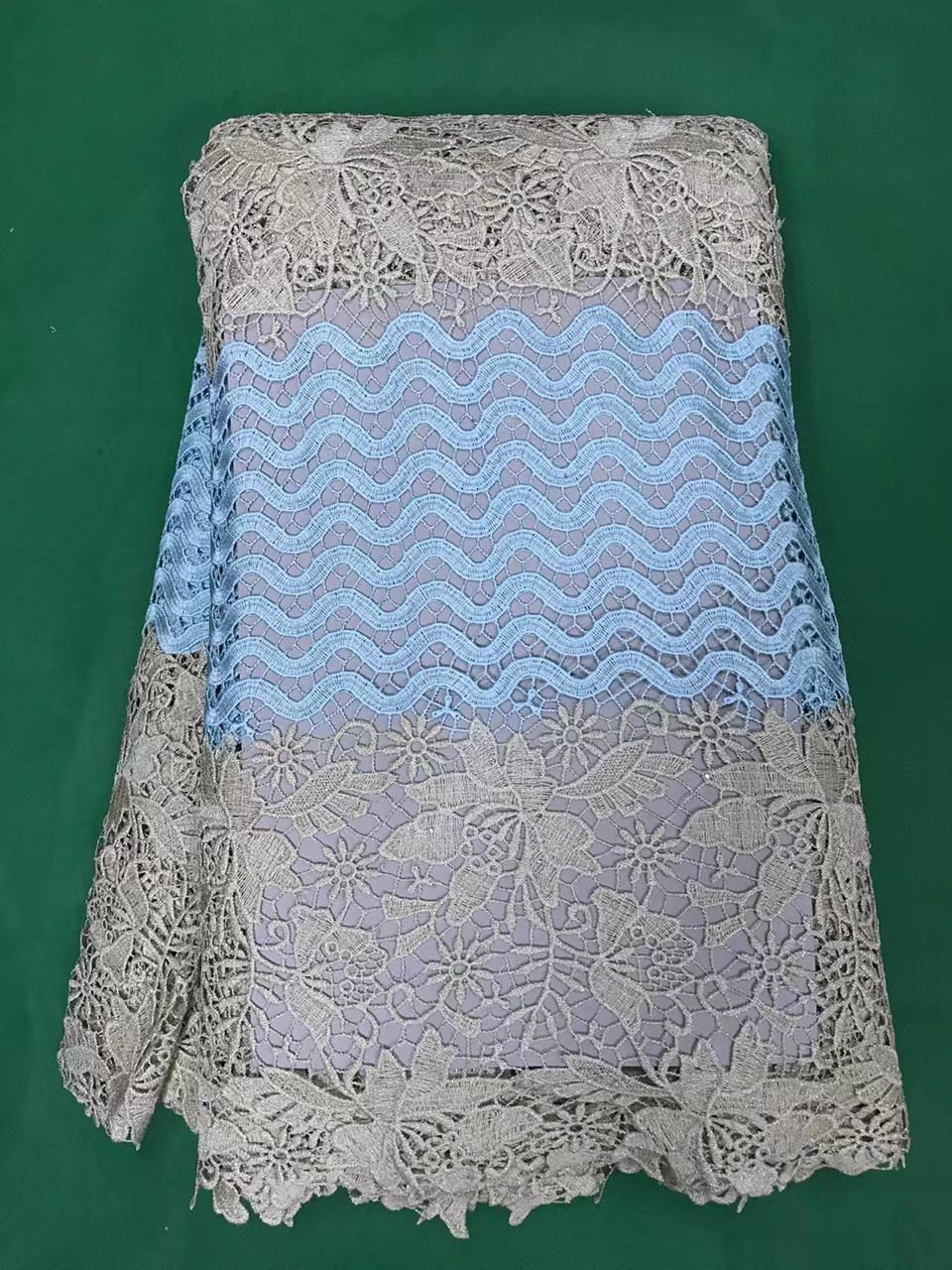 AFRICAN CORD LACE FABRIC GUIPURE DENTELLE SWISS LACE EMBROIDERY 5 YARDS NIGERIA