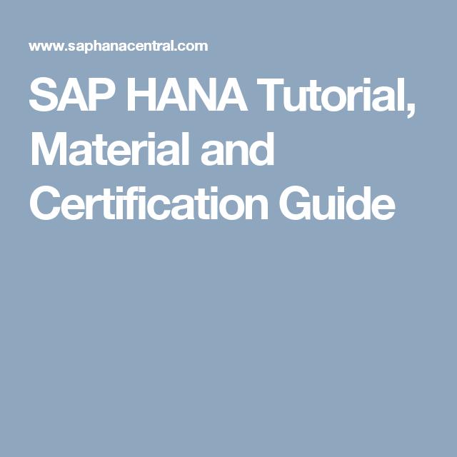 Sap Hana Tutorial Material And Certification Guide Sap Hana