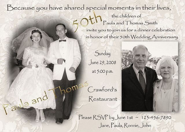 50th Wedding Anniversary Invitation Ideas: Fiftieth Wedding Anniversary Invitations