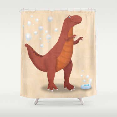 Attirant Dinosaur T Rex Kids Shower Curtain