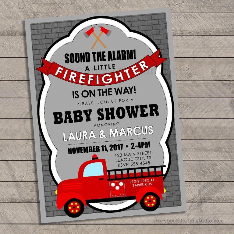 Firefighter Baby Shower Invitations Firefighter Baby Shower