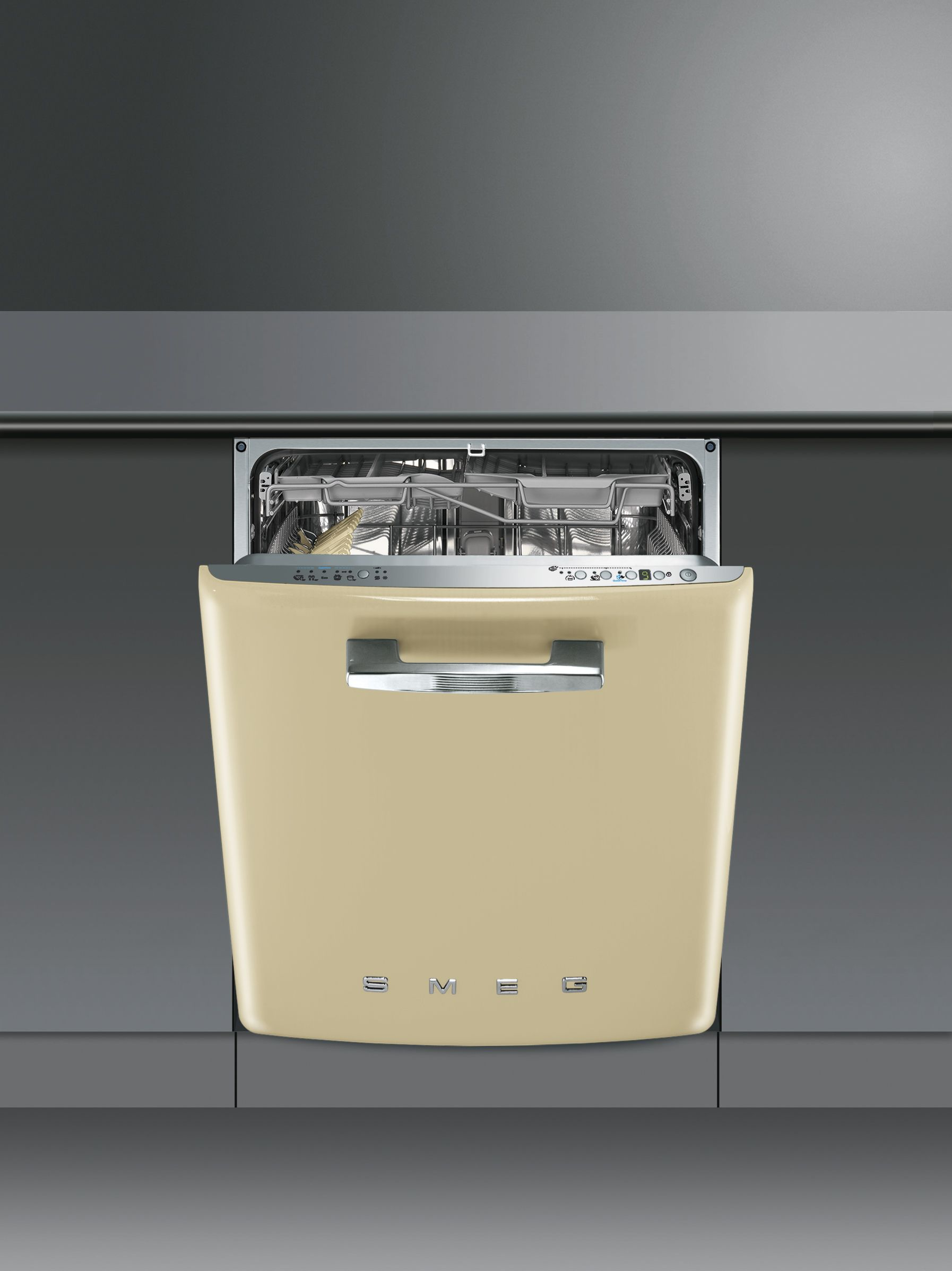 DI6FABP2 | Smeg UK 60cm 50\'s Style Built-in Dishwasher in Cream ...