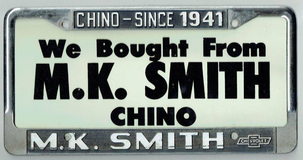 RARE Chino California MK Smith Chevrolet GM Vintage Dealer License ...