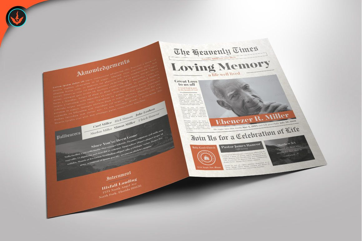 newspaper funeral program photoshop template by seraphimcollective
