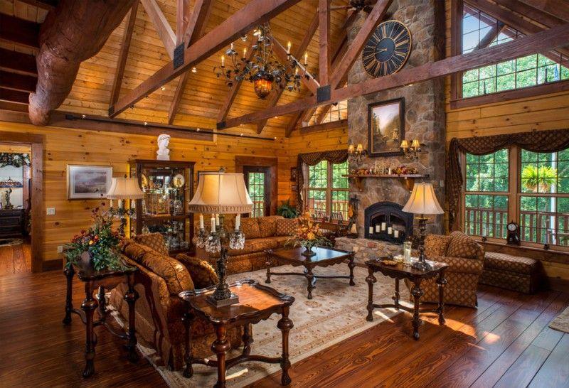 Brown Living Room Ceiling Wood Beams Custom Log Home High