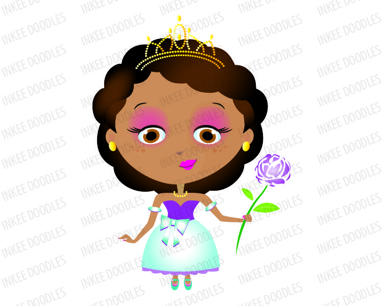 Princess Girl African American with Dark Black Hair wearing Gold Tiara in Teal Turquoise Purple Costume holding a Rose Flower - Clip Art can be used for Commercial Use 30014, $6.00 #AfricanAmerican #princess #clipart