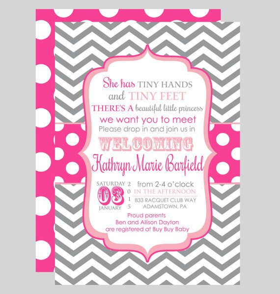 Tiny Sip And See Invitations Girls Meet Greet Baby Shower Pink Polka