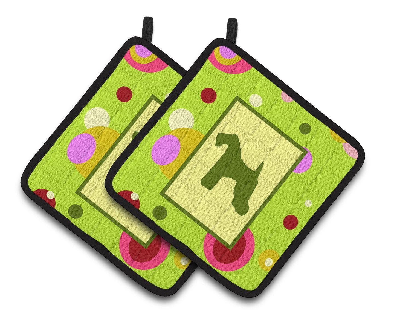 Lime Green Dots Kerry Blue Terrier Pair of Pot Holders CK1042PTHD ...