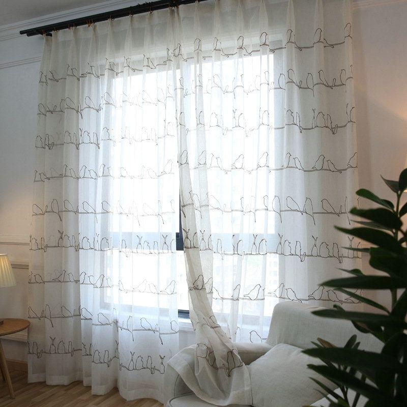 Voilage brod en polyester oiseau style de village - Rideaux salle a manger salon ...