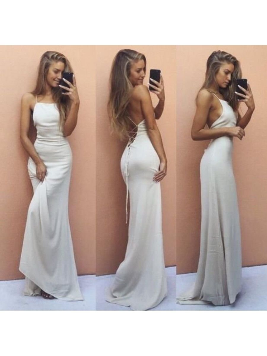 Long white spaghetti straps prom formal evening party dresses