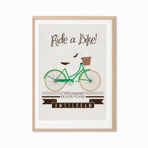 Ride A Green Bike In Amsterdam Poster : Modern Bicycle Illustration Retro Art Wall Decor Print 8 X 10. $14.00, via Etsy.