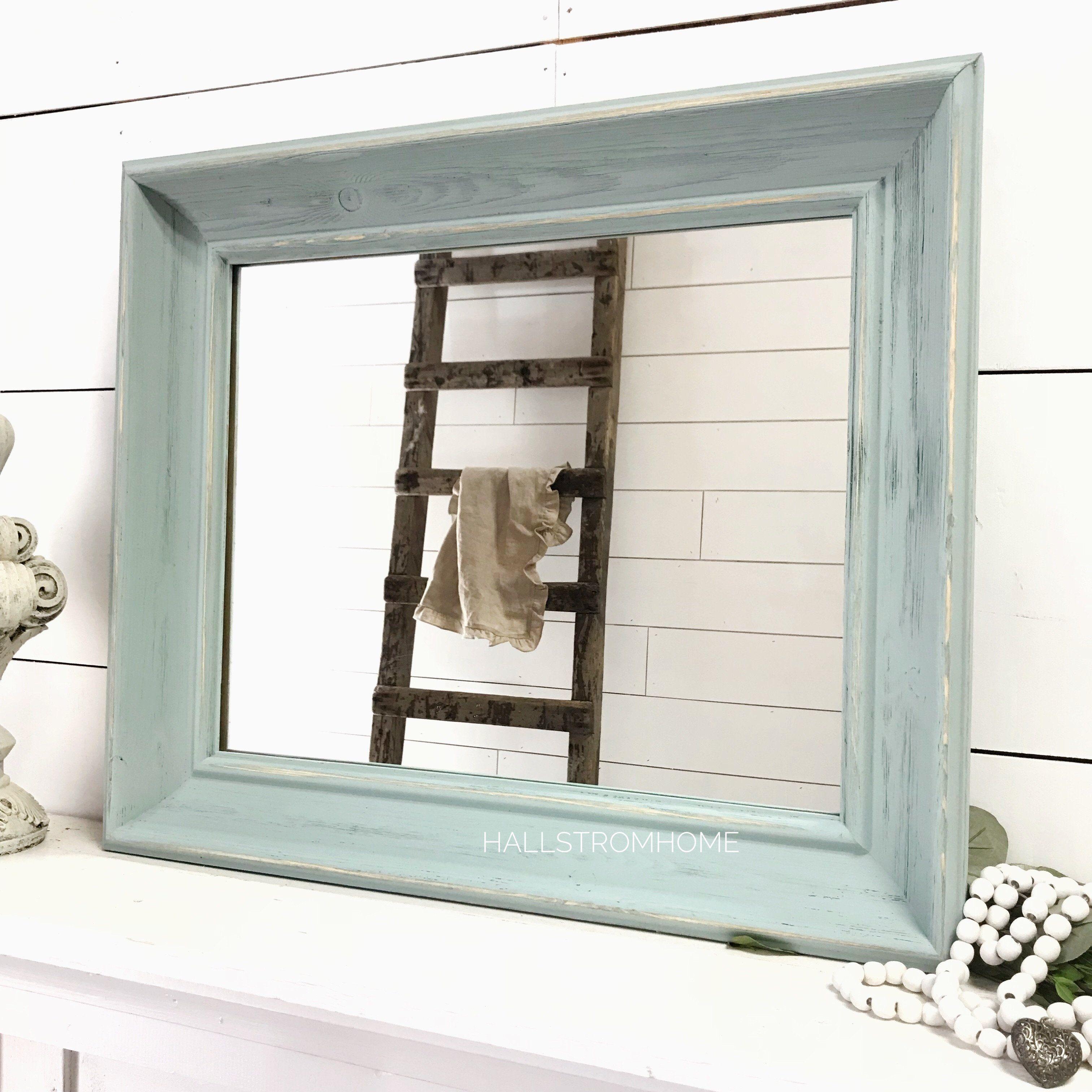 Blue Farmhouse Mirror Farmhouse mirrors, Shabby chic