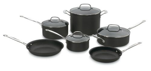 http://yummycakedecorating.com/cuisinart-66-10-chefs-classic-nonstick-hard-anodized-10-piece-cookware-set/ Cuisinart Chef's Classic non-stick hard anodized 10-piece set includes 1-1/2-quart saucepan with cover, 3-quart saucepan with cover, 3-1/2-quart saute pan with helper handle and cover, 8-quart stockpot with cover, 8-inch open skillet and 10-inch open skillet. Cool grip riveted handles for ease of use, durable hard anodized exterior, Quantani...