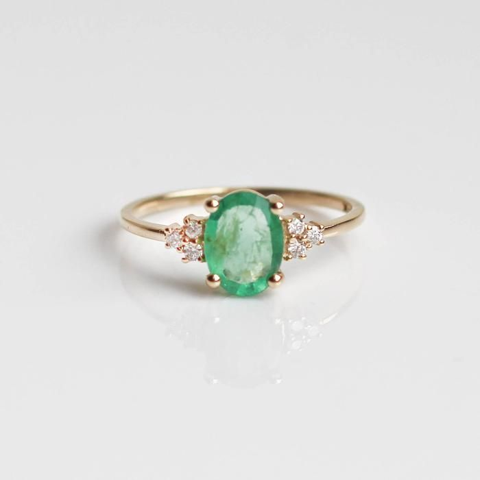Emerald Lovestruck Ring, $495.00 Solid 14KT Gold