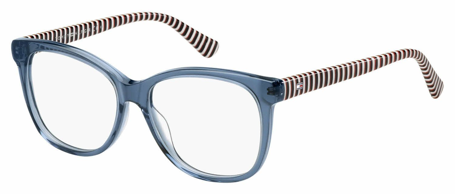 Transparent Blue Frames And Red White And Blue Striped Temples Tommy Hilfiger Th 1530 Eyeglasses Tommy Hilfiger Fashion Eyeglasses Eyeglasses