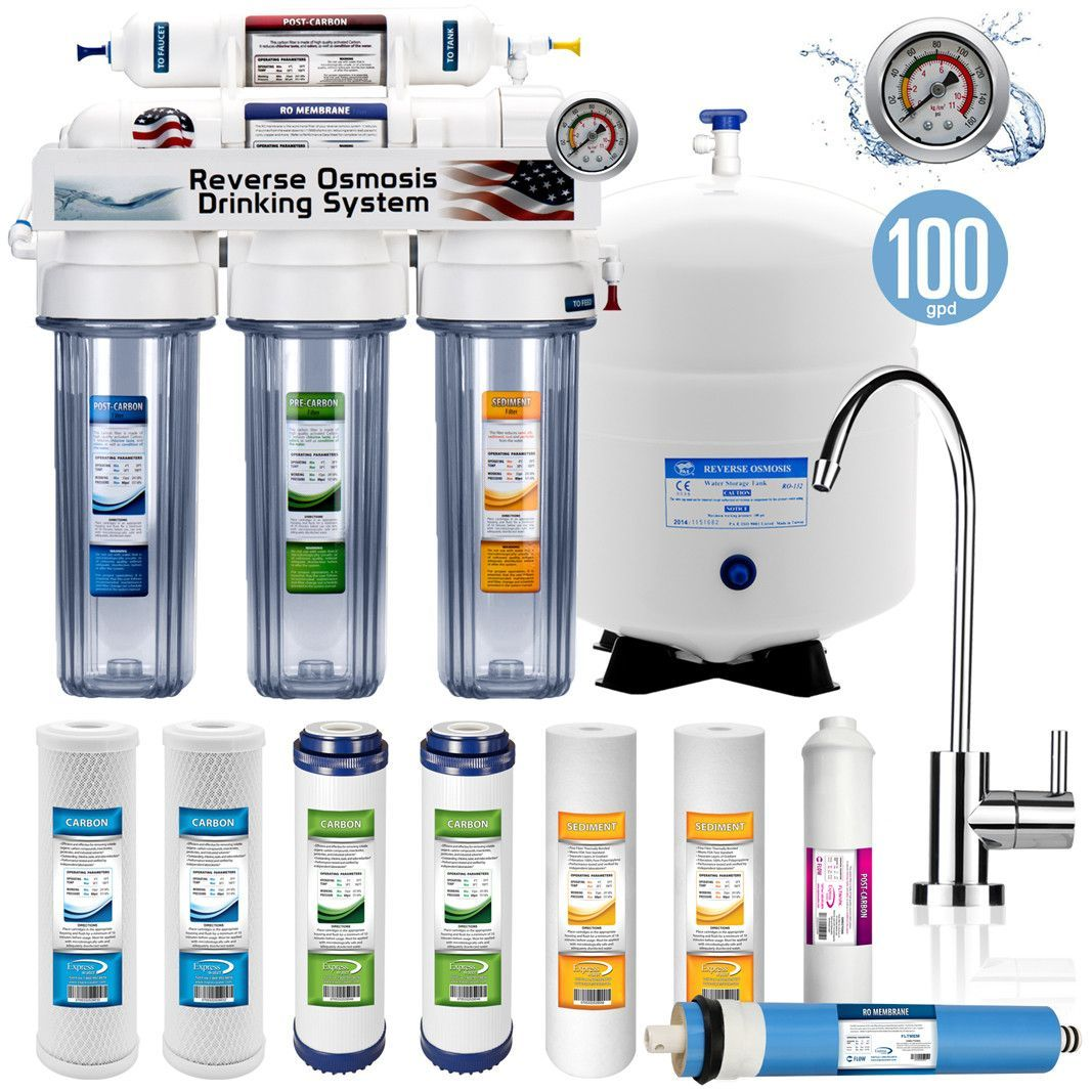 3ae083b3e Your Source For Water Filters. RO10MXCG - 5 Stage Home Drinking Reverse  Osmosis System complete purifier clear + w  pressure gauge -RO10MXCG - 100  GPD