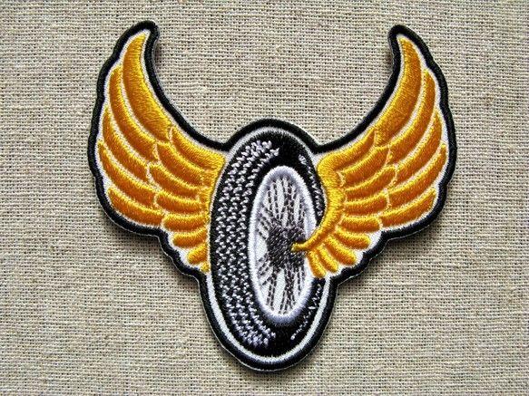 Flying Wheel 刺繍ワッペン パッチ ワッペン 刺繍ワッペン 刺繍
