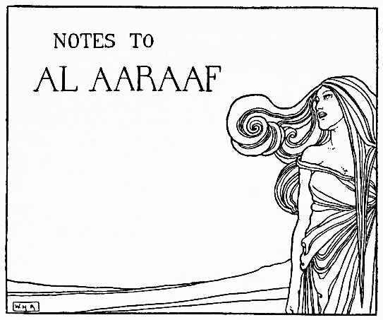decorated title 'Notes to Al Aaraaf'