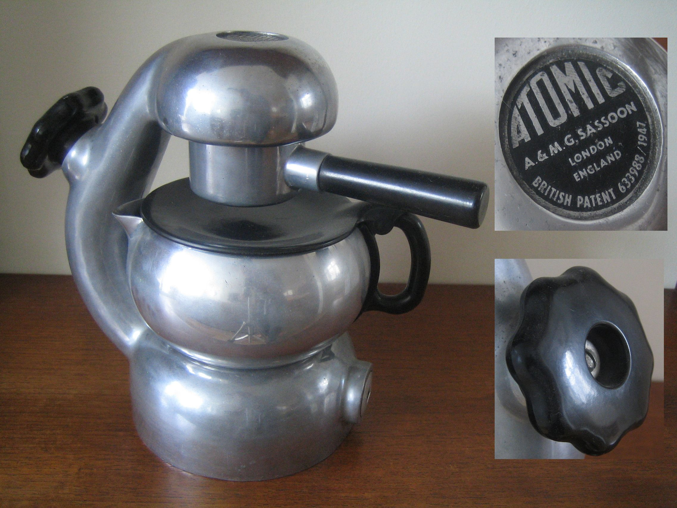 """1950 s stove top """"Atomic"""" coffee maker by A & M G Sassoon"""