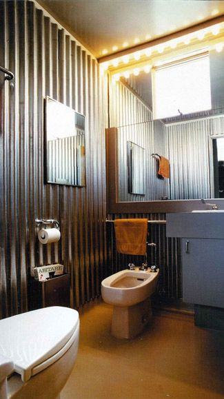 Corrugated Metal Walls In The Bathroom I Have This In My Shower It Is So Easy And Really When You Accen Corrugated Metal Wall Tin Walls Contemporary Bathroom